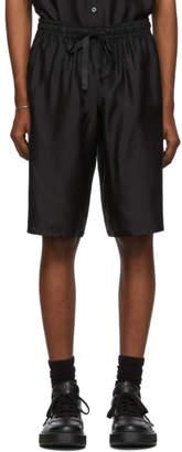 Dolce & Gabbana Black Silk Logo Shorts