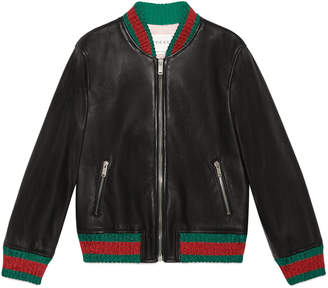Children's leather bomber jacket $1,850 thestylecure.com