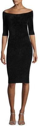 Helmut Lang Off-the-Shoulder Seamless Fitted Rib-Knit Dress