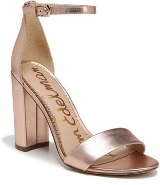 Sam Edelman Yaro Soft Metallic Leather Chunky-Heel Sandal