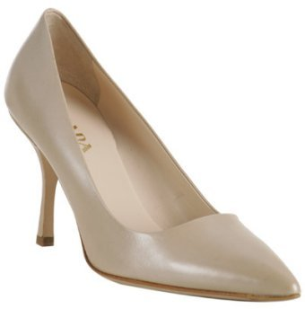 Prada beige metallic leather pointed toe pumps