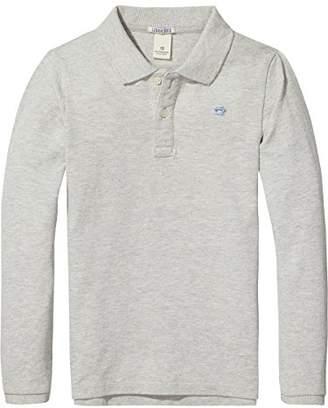 Scotch & Soda Boy's Garment Dyed Polo Shirt, (Grey Melange 606)