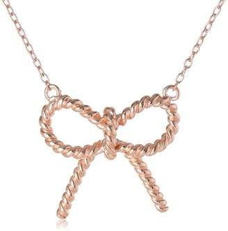 14k Gold Plated Sterling Silver Twisted Ribbon Bow Necklace