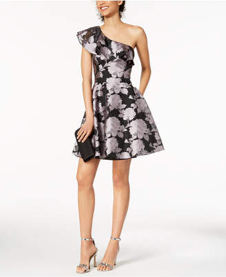 Xscape Evenings Printed Ruffled Fit & Flare Dress