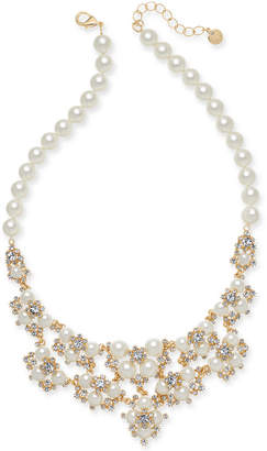 "Charter Club Gold-Tone Crystal & Imitation Pearl Statement Necklace, 42"" + 2"" extender"