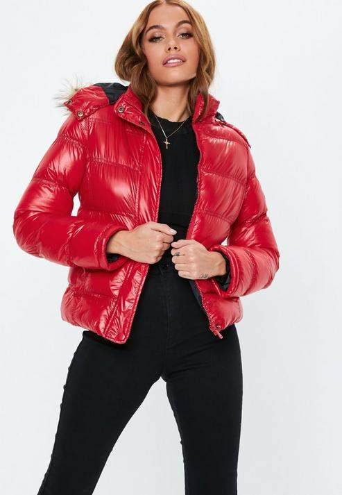 Red Padded Jacket with Faux Fur Collar, Red