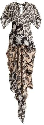 Roland Mouret Deane Mexican Rose Print Dress - Womens - Black White