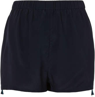 Figue Cassia Embroidered Silk Shorts