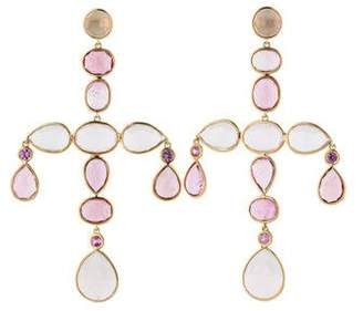 Rose Quartz, Pink Sapphire and Pink Topaz Earrings