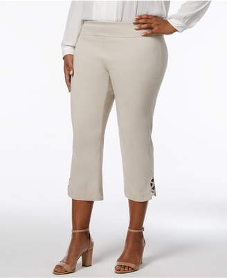 JM Collection Plus Size Rhinestone-Strap Capri Pants, Created for Macy's