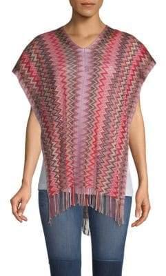 Missoni Fringe-Trimmed Crochet Cropped Poncho