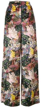 Erdem Bertie floral velvet wide leg trousers