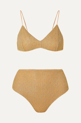 Oseree Lumière Stretch-lurex Bikini - Gold