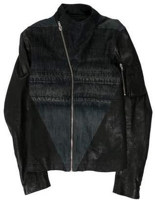 Rick Owens Leather Trim Asymmetric Zip-Up Jacket