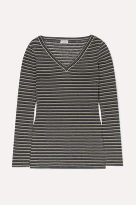 Brunello Cucinelli Metallic Striped Linen-blend Top - Gray