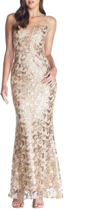 Dress the Population Mara Lace & Sequin Evening Gown