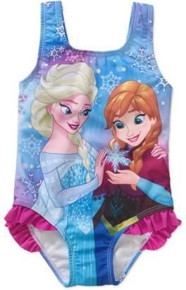 Disney Frozen Toddler Girl Ruffle Detail 1pc Swimsuit
