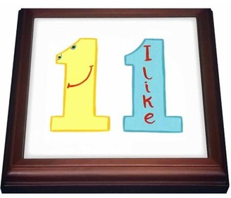 Eleven Paris 3dRose Number 11 in yellow and blue with a face, Trivet with Ceramic Tile, 8 by 8-inch