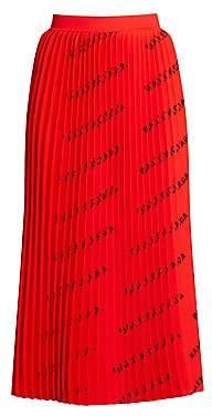 Balenciaga Women's Logo Pleated Midi Skirt
