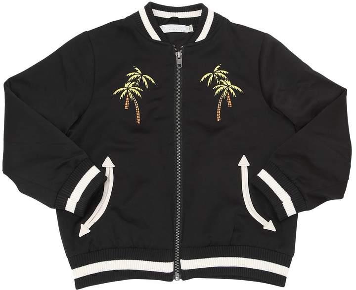 Skater Embroidered Satin Bomber Jacket