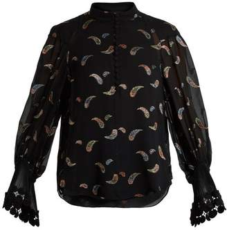 Chloé Paisley Jacquard Chiffon Blouse - Womens - Black Multi