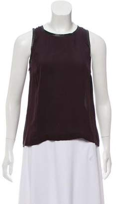 A.L.C. Snake Skin-Trimmed Sleeveless Top