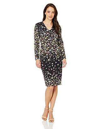 Maggy London Women's Petite Printed Crepe v-Neck midi Dress with Long Sleeve