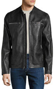 Men's Racer Leather Zipper-Trim Bomber Jacket