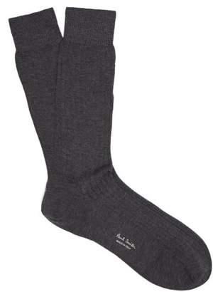 Paul Smith Ribbed Knit Wool Socks - Mens - Grey