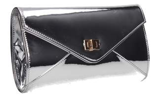 SwankySwans Briana Metallic Patent Leather Envelope Smart Womens Party Prom Wedding Ladies Clutch Bag - Champagne
