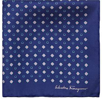 Salvatore Ferragamo Men's Diamond- & Gancio-Print Silk Pocket Square
