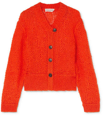 Sonia Rykiel Open-knit Mohair-blend Cardigan - Orange