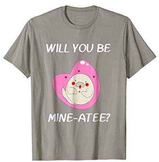 Will You Be Mine-atee? Romantic Manatee Funny Pun T Shirt