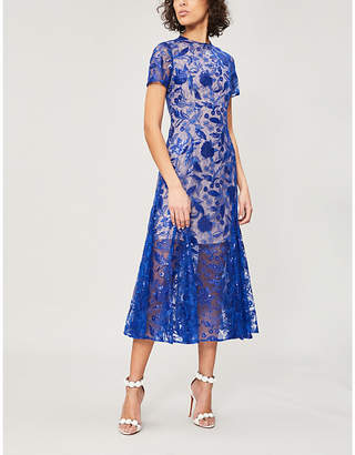 COSTARELLOS Sequinned floral lace dress