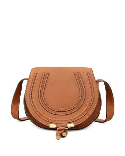 Chloe Marcie Small Leather Crossbody Bag, Tan