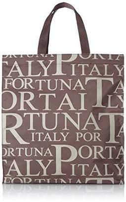 PORTA FORTUNA(ポルタフォルトゥーナ) 角型 ロゴプリントショッピングバッグ【A4対応】 1563-01 ブラウン