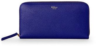 mulberry Indigo Leather Zip-Around Wallet $430 thestylecure.com