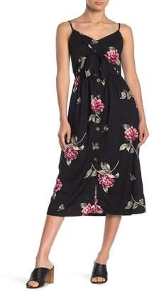 Mimichica Mimi Chica Front Button Floral Print Midi Dress