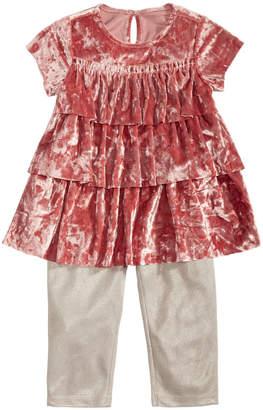 First Impressions Baby Girls 2-Pc. Crushed-Velvet Tunic & Leggings Set