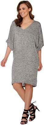 Halston H By H by Melange Knit V-Neck Dress