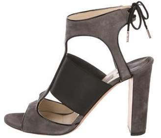 Jimmy Choo High-Heel Suede Sandals Grey High-Heel Suede Sandals