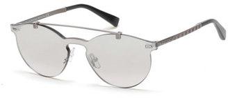 Ermenegildo Zegna Rimless Double-Bar Round Sunglasses, Silver $385 thestylecure.com