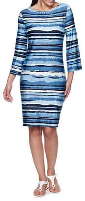RUBY RD Torn Stripe Print Shift Dress