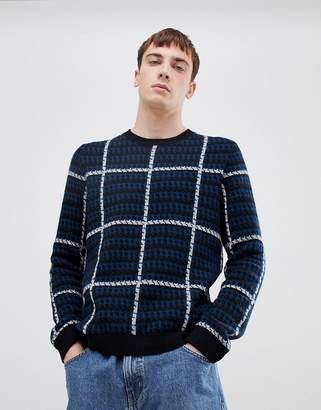 Selected knitted sweater with check pattern