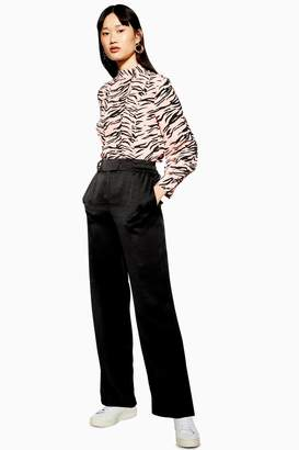 Topshop Womens Elasticated Satin Wide Leg Trousers - Black