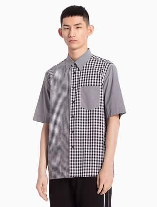 Calvin Klein mixed check woven cotton short sleeve shirt