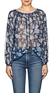 Raquel Allegra Women's Floral Silk Blouse - Navy