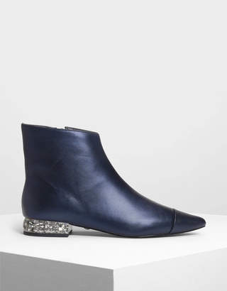 Charles & Keith Faceted Lucite Heel Leather Boots