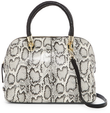 Cole Haan Cole Haan Benson Snake-Embossed Large Leather Dome Satchel