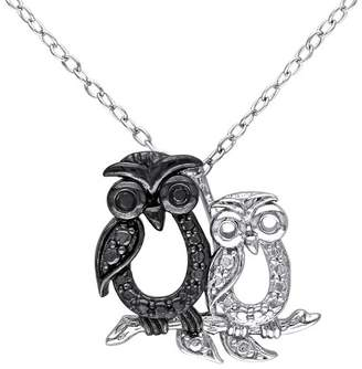 ".02 CT. T.W. Black Diamond Double Owl Pendant Necklace in Sterling Silver (18"")"
